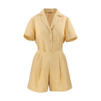 [66]Cellva - linen three button shirt & linen pleats shorts yellow